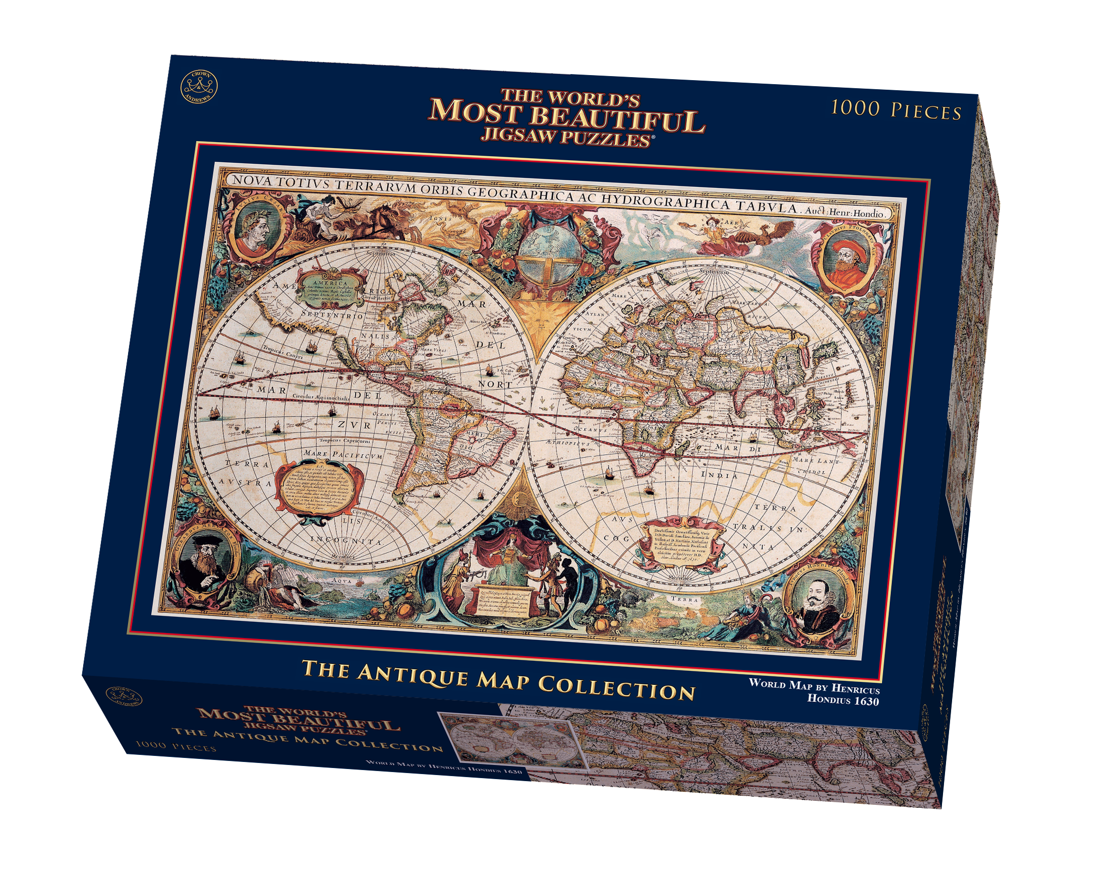 The worlds most beautiful double hemisphere world map by henricus the worlds most beautiful double hemisphere world map by henricus hondius jigsaw puzzle gumiabroncs Gallery