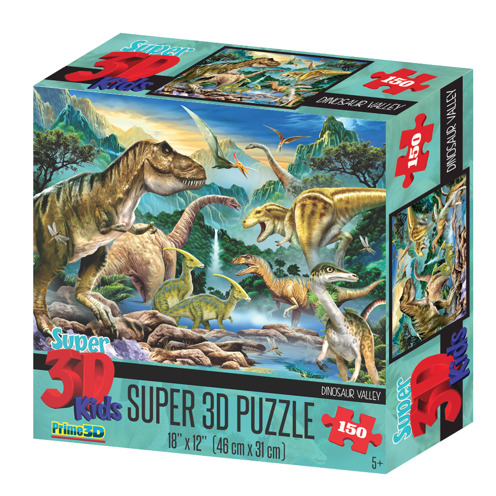 Super 3D Howard Robinson Dinosaur Valley 150pc Childrens Puzzle